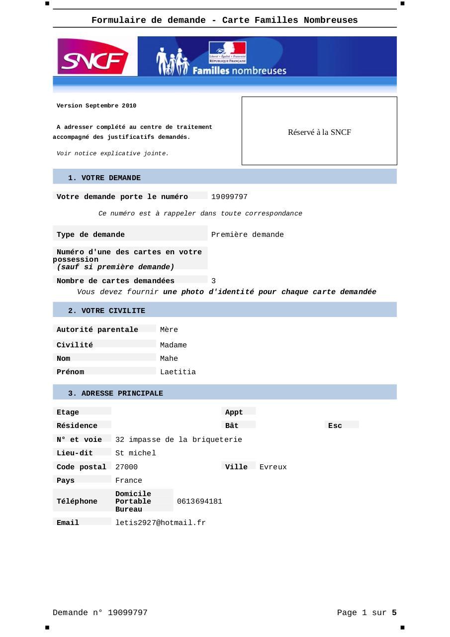 formulaire renouvellement carte famille nombreuse Formulaire Demande Carte Familles Nombreuses   19099797 par SNCF