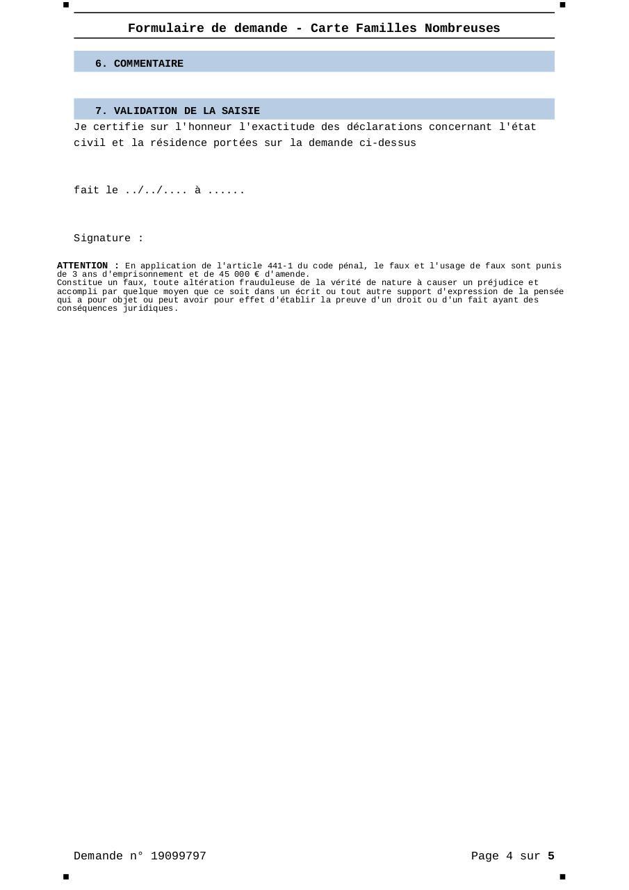 Formulaire Demande Carte Familles Nombreuses - 19099797 ...