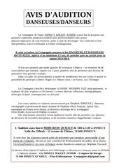 Fichier PDF dossier audition compagnie