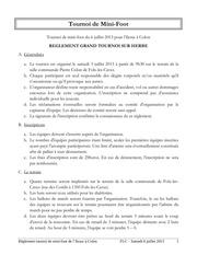 reglement tournoi minifoot 2013