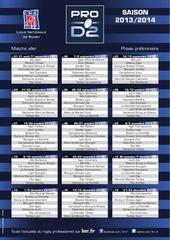 calendrier prod2 saison 2013 2014