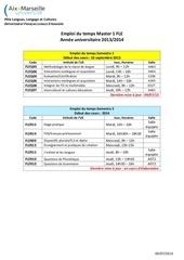 emploi du temps m1 fle 2013 2014