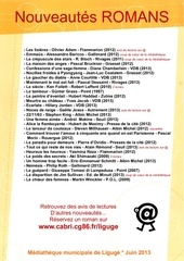 nouveautes romans juin 2013 mediatheque de liguge