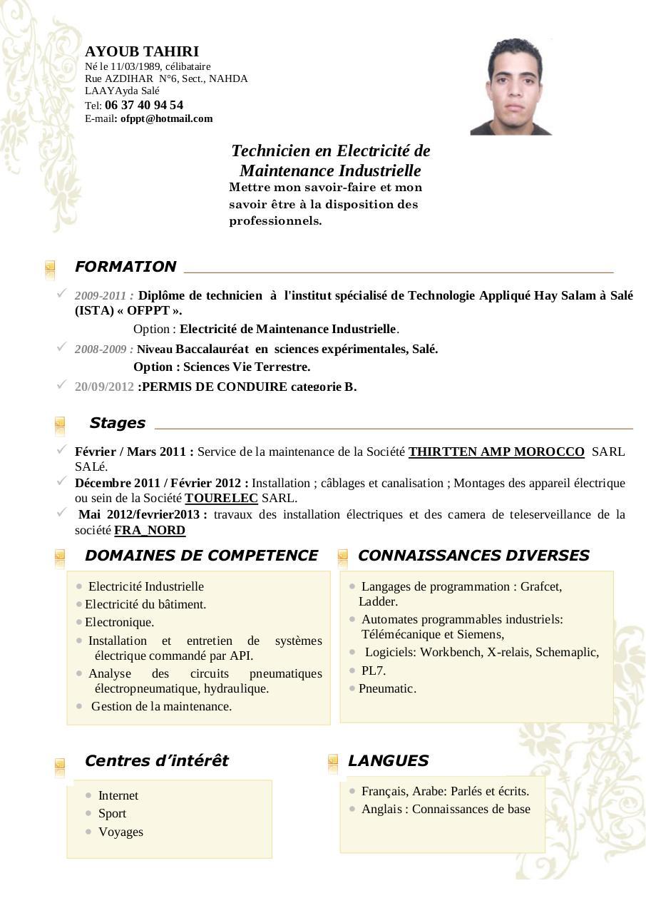 cv ayoub pdf par free cv