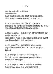 information sur la ps4 et xbox one