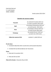 Fichier PDF calendrier parents
