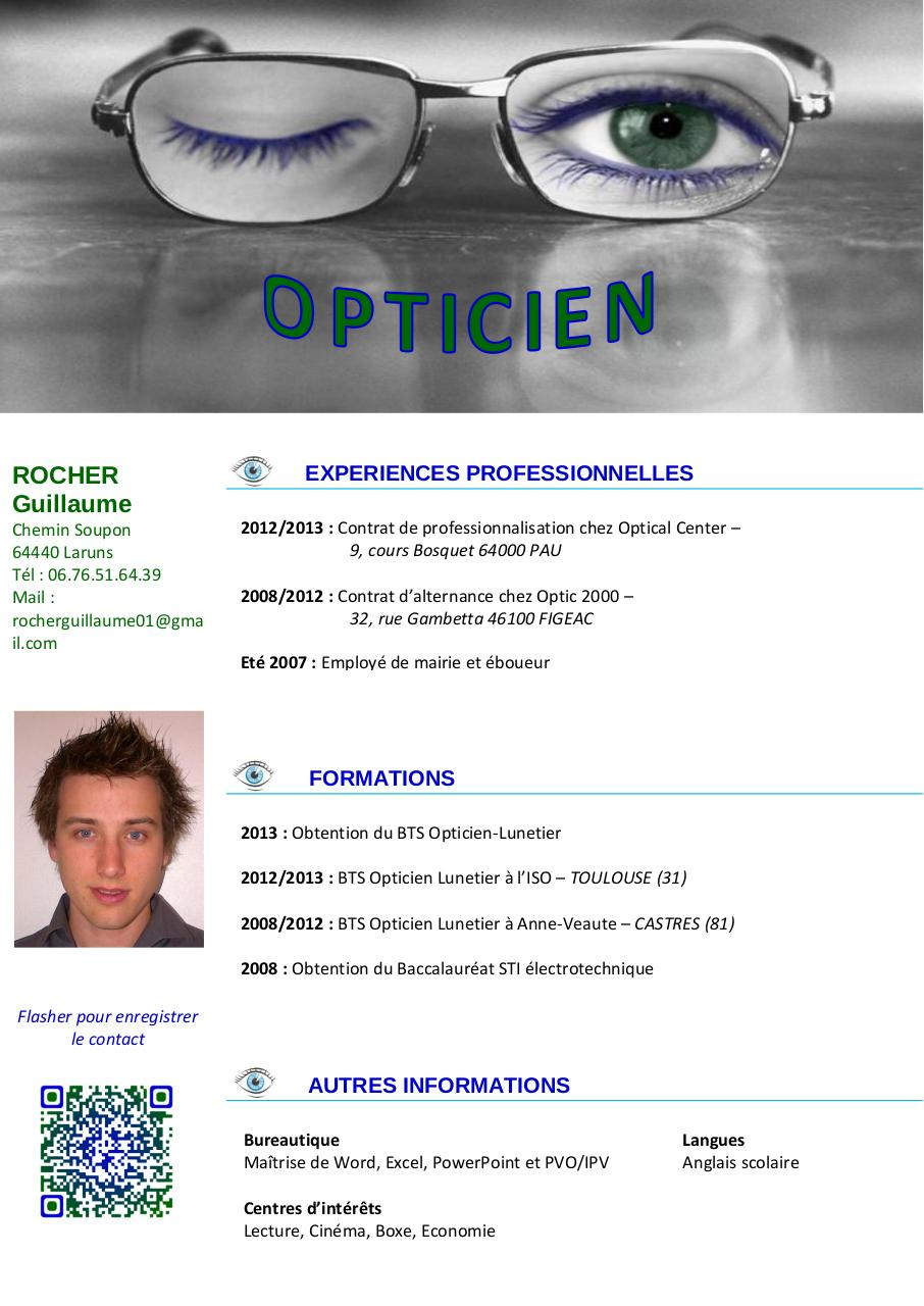 exemple cv opticien