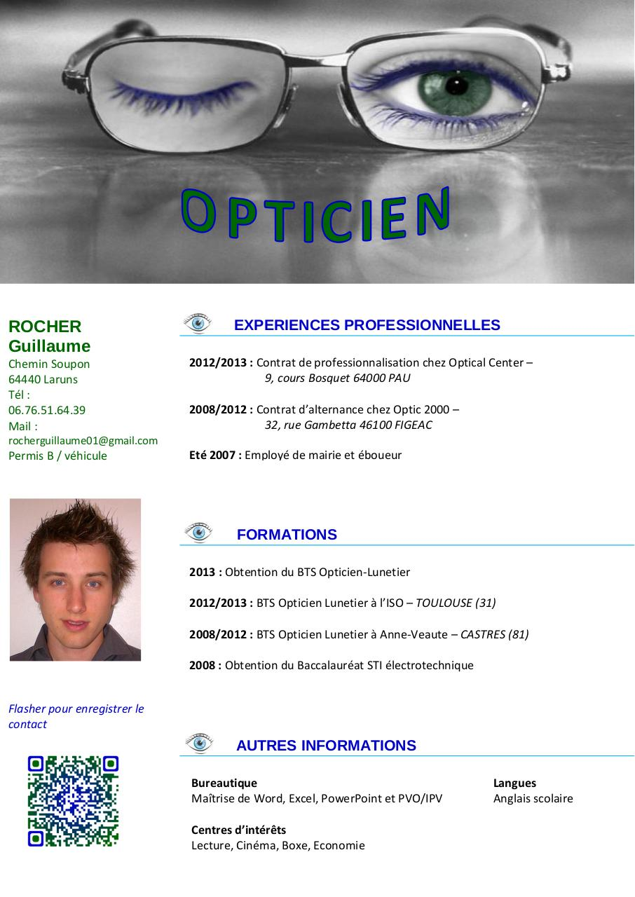 modele cv opticien lunetier