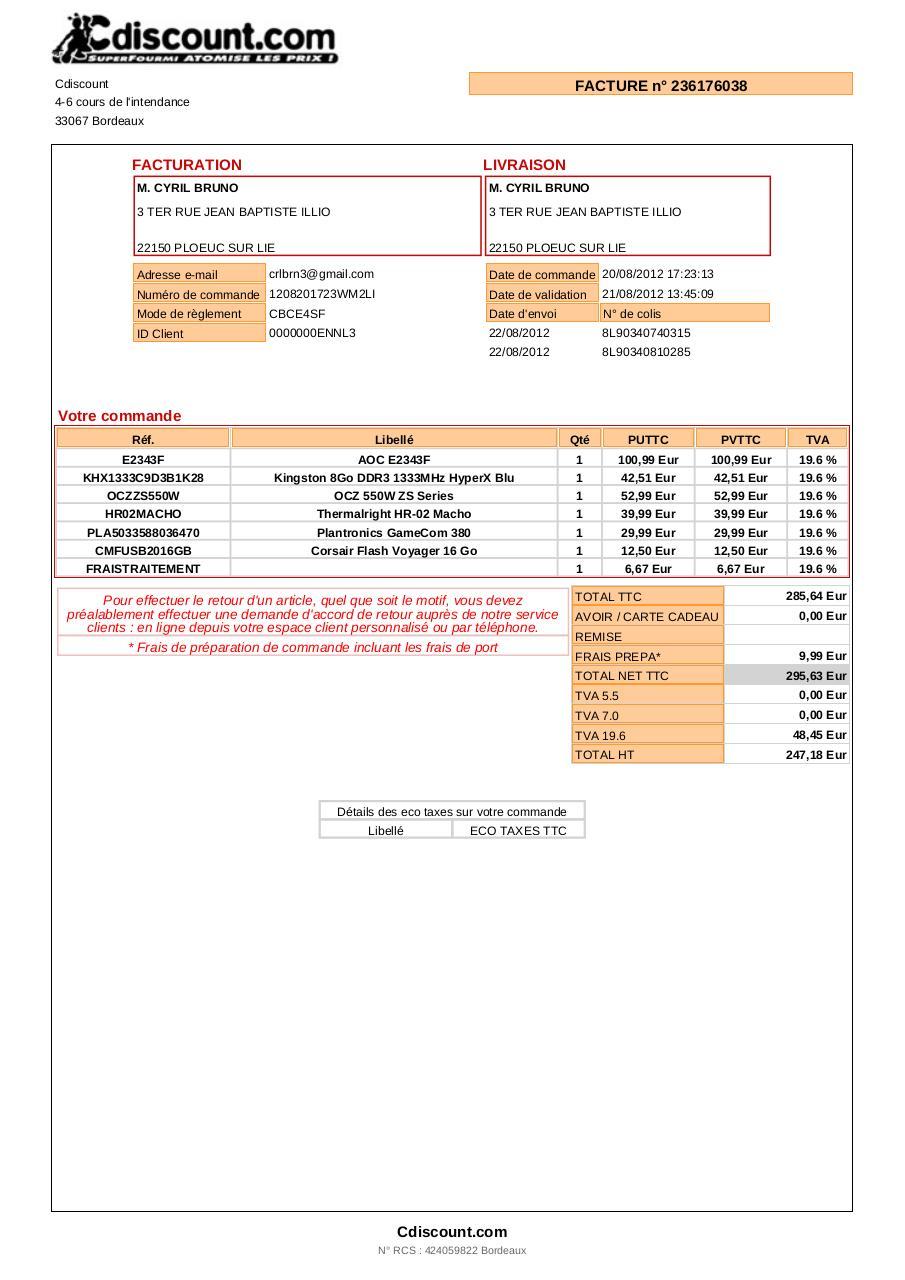 Mafacture 1 fichier pdf - Code reduc cdiscount frais de port gratuit ...