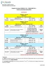 emplois du temps licences du parcours fle 2013 2014