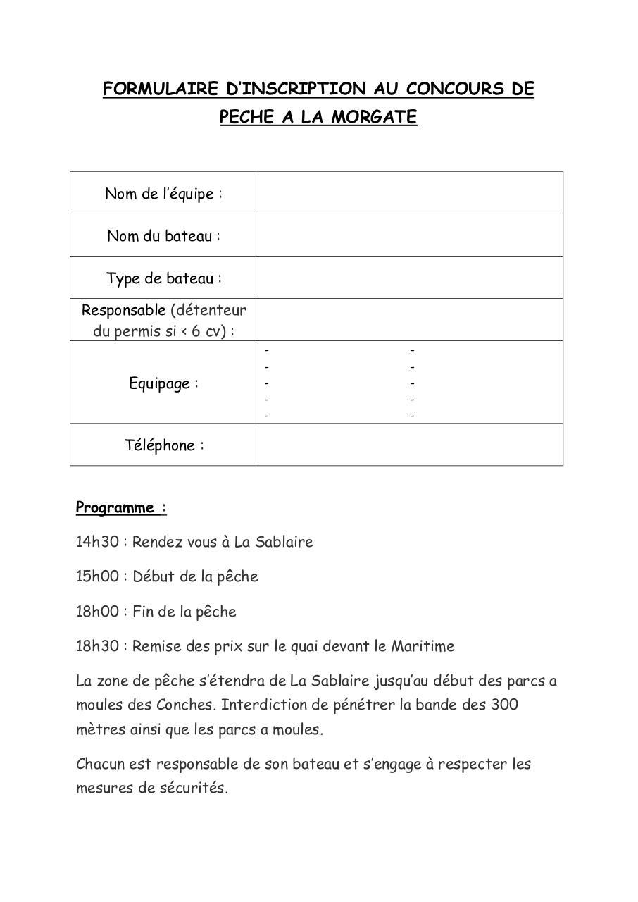 formulaire inscription concours par alexandre