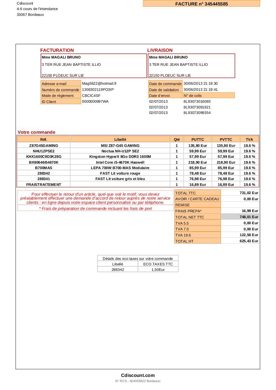 Mafacture fichier pdf - Cdiscount espace client suivi commande ...