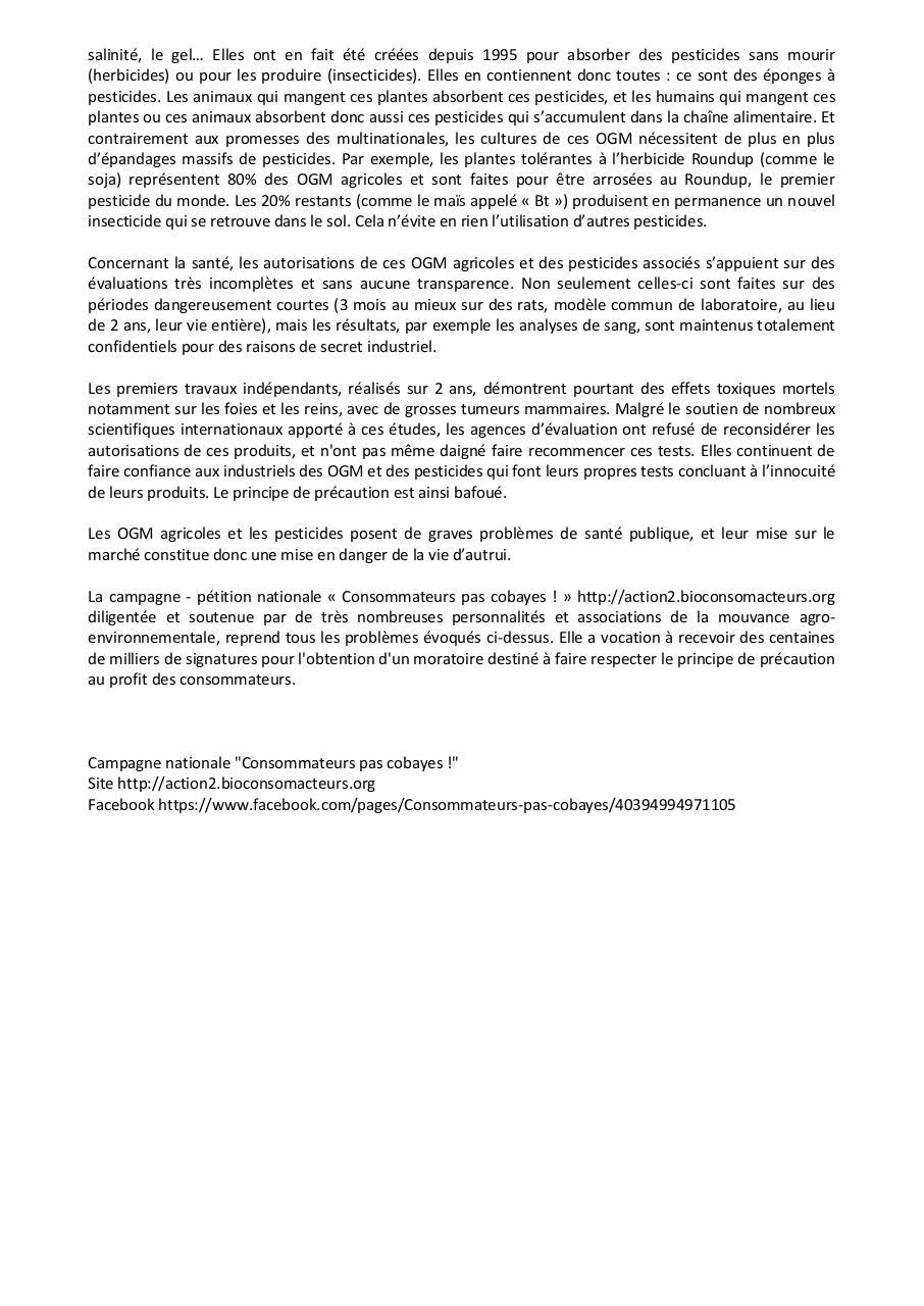 Petition Ogm Roundup Par Marine Fichier Pdf