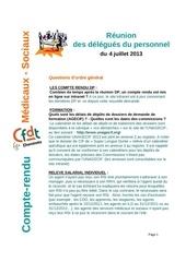 compte rendu dp medicaux sociaux du 4 juillet 2013
