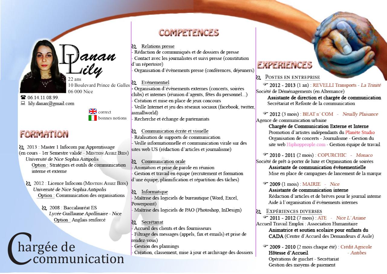 cv danan lily charg u00e9e de communication  apprentie
