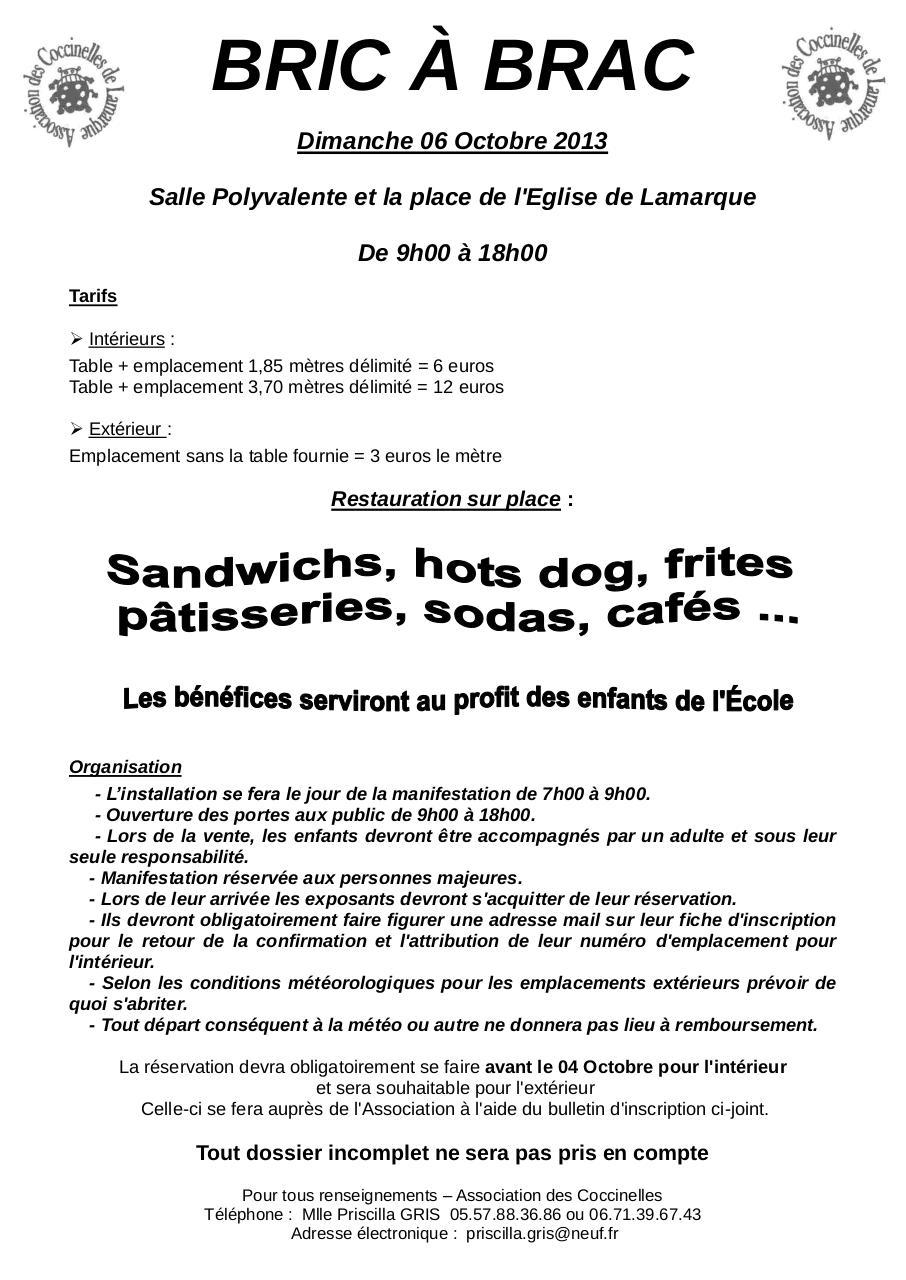 Bulletin d 39 inscription vide grenier avec r glement for Reglement interieur association pdf