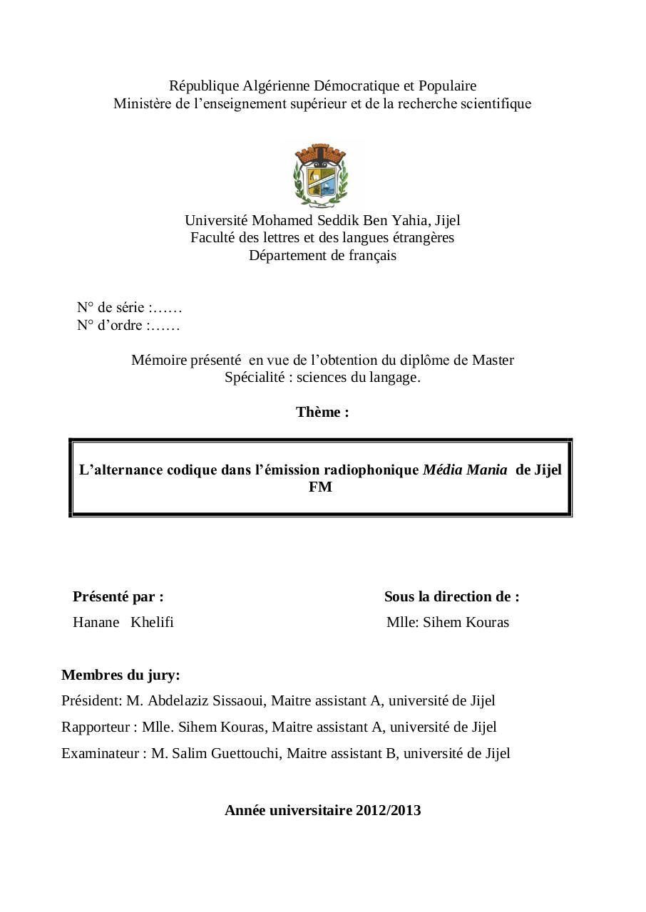 mémoire master mathématiques pdf