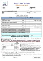 fiche inscription 2013 2014