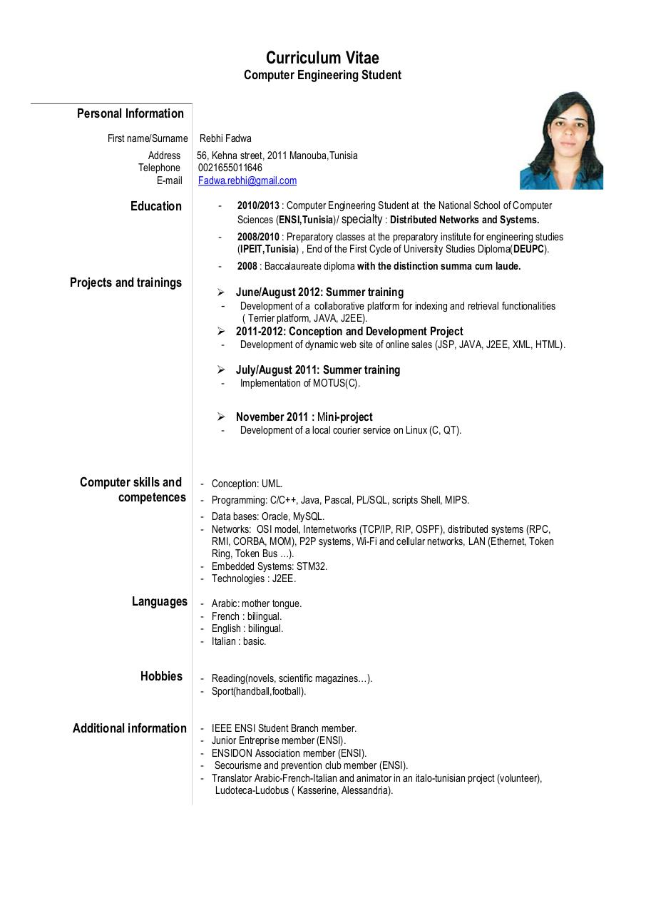 curriculum vitae europass - rebhi fadwa cv pdf