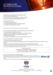 formulaire prise de licence 2013 2014
