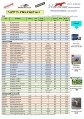 tarif cartouches 2013 2