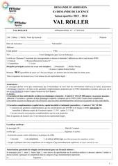 formulaire complet demande adhe sion licence 2013 2014