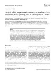 antimicrobial properties of aqueous extracts from three
