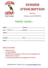 dossier d inscription 2013 2014 partie danse