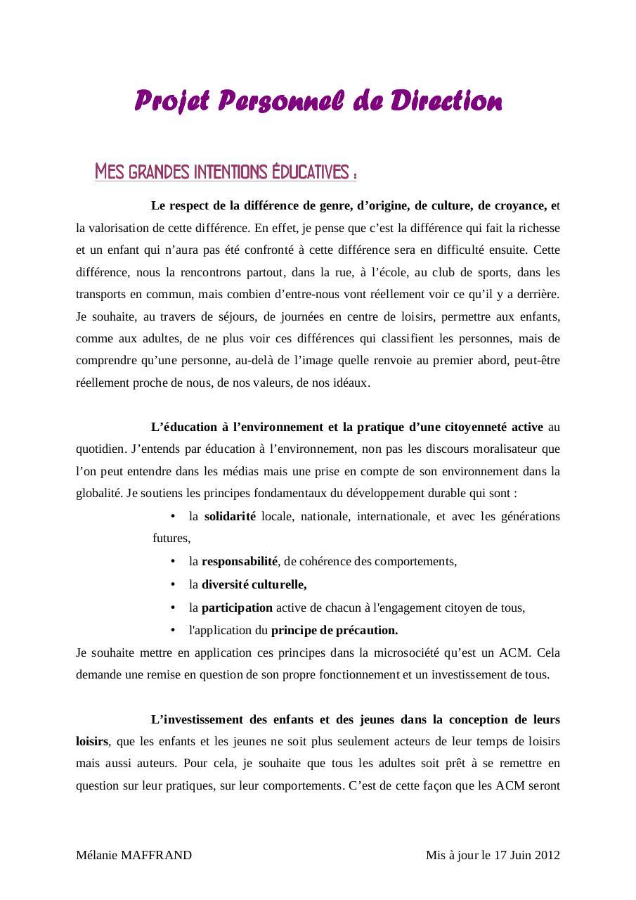 Projet Personnel de Direction par Mélanie - Fichier PDF