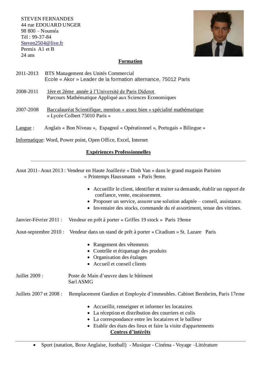 Cv 1 pdf par steven fichier pdf - Rapport de stage vendeuse pret a porter ...