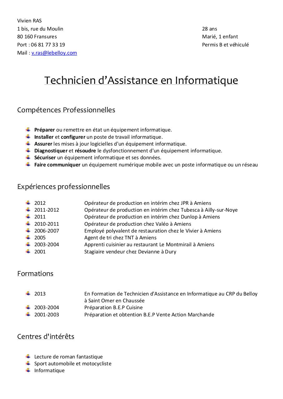 exemple cv employe polyvalent de restauration