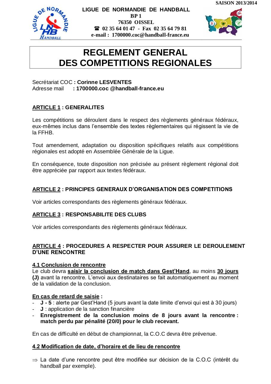 REGLEMENT GENERAL COMPETITIONS REGIONALES 13-14.pdf - page 1/6