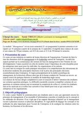 plan du cours management 2013 2014