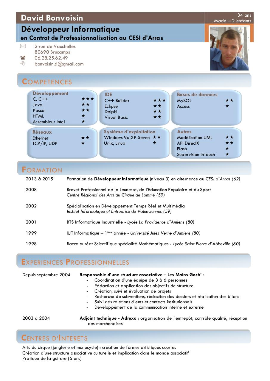 cv david bonvoisin d u00e9veloppeur informatique par david