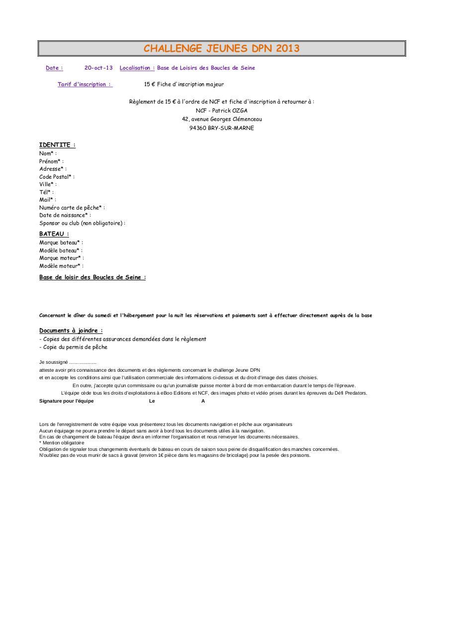 54 Fiche Dinscription Comptiteurs Majeurs CHALLENGE JEUNES DPN 2013 Date