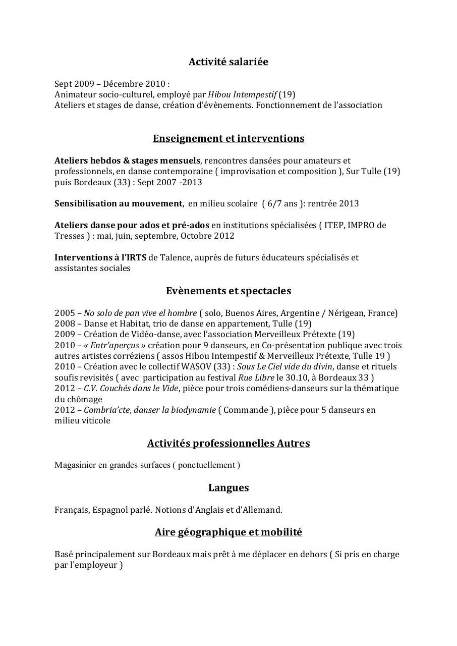 cv danse actualis u00e9 par t u00e2m antoine nguyen-minh - cv danse pdf pdf