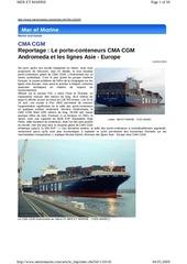 reportage porte conteneurs cma cgm andromeda lignes asie europe mermar 052009
