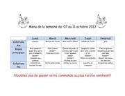 Fichier PDF menu de la semaine du 7 au 11 octobre
