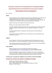 recrutement prej 2 atupee assistant