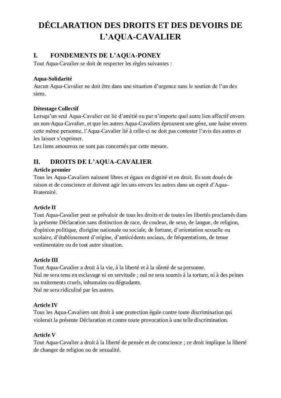 D claration des droits et des devoirs de l 39 aqua par maxence fichier pdf - Mur privatif droit et devoir ...
