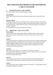 dEclaration des droits et des devoirs de l aqua cavalier