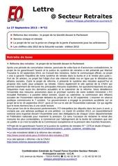 lettre fo retraites n 52 du 27 septembre 2013