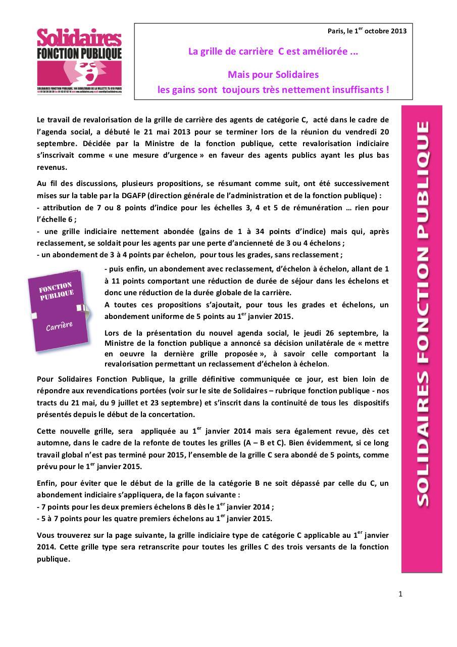 Info la nouvelle carri res des agents de cat gorie c par - Refonte de la grille indiciaire de la categorie c ...