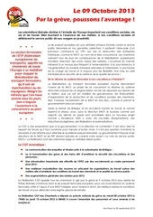 20130930 appel a la greve du 9 octobre
