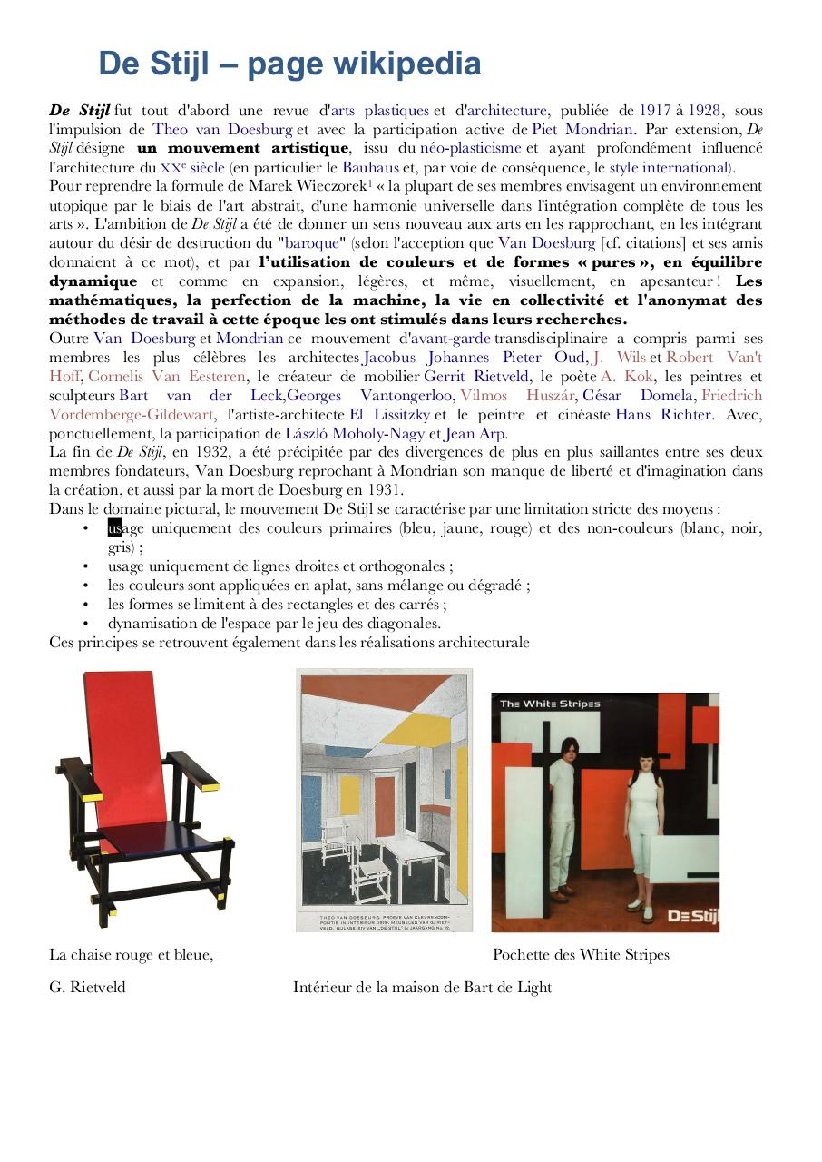 De stijl page par lucie martin de stijl for La chaise rouge et bleue
