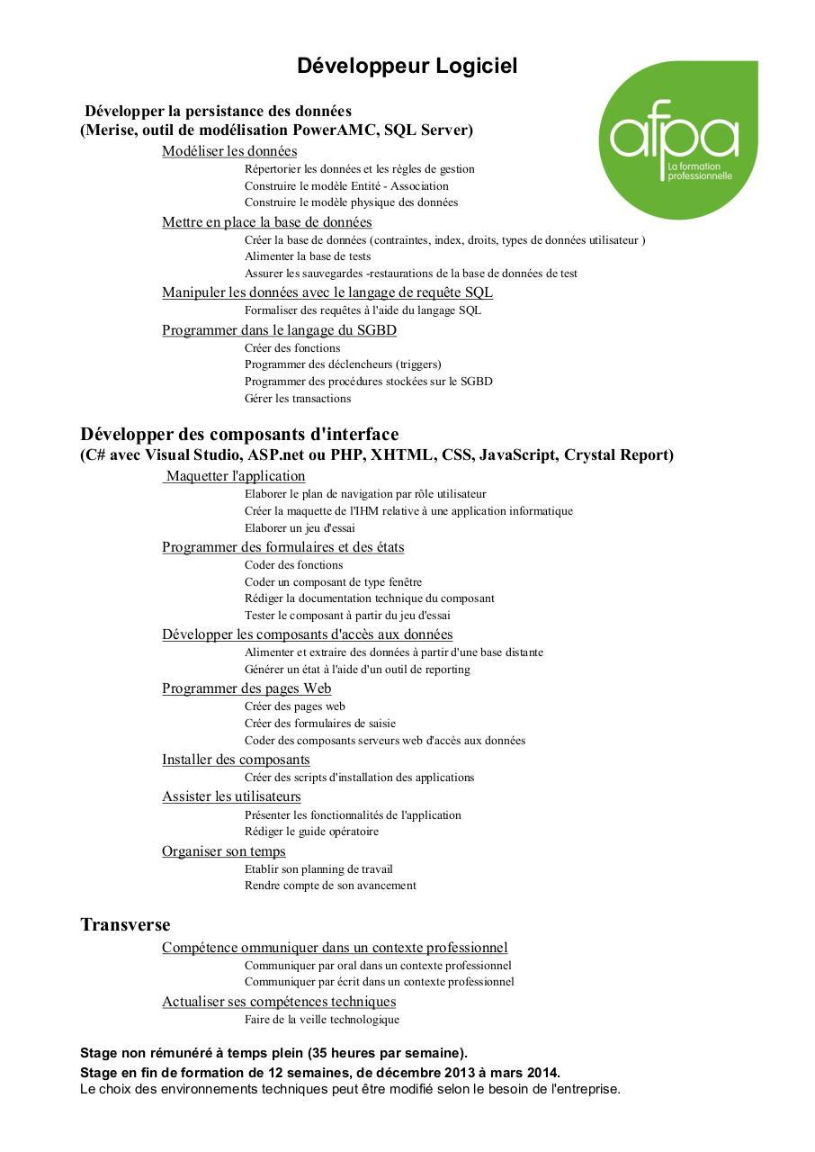 plaquette formation dev log afpa02013