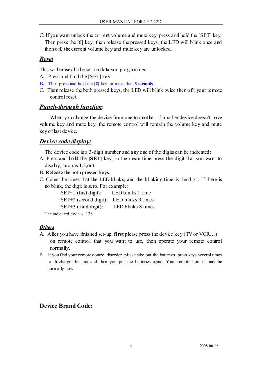 USER MaNUAL FOR URC22D 8 URC22D 8A URC22D 8B  doc par Emil - URC22