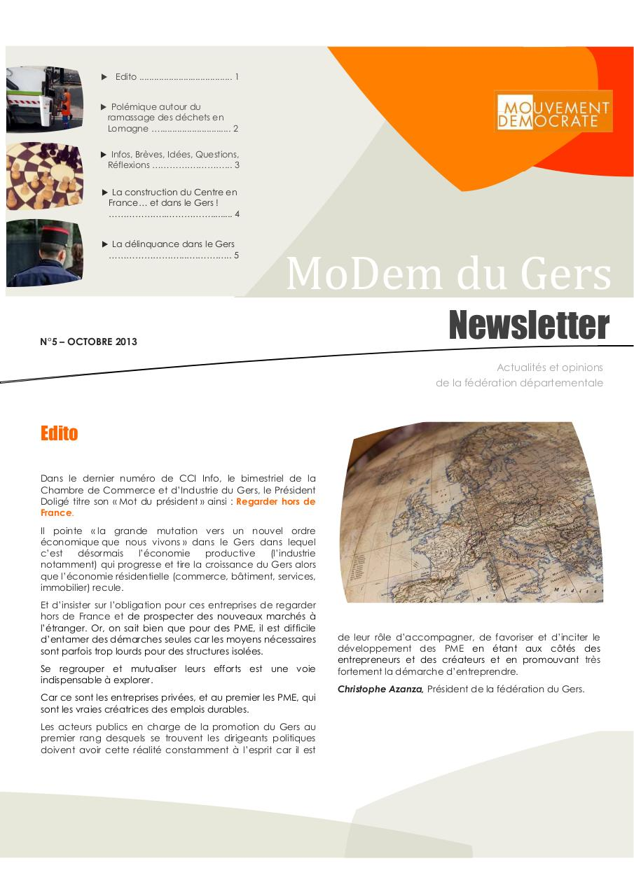 Aperçu du document Newsletter du MoDem N°5 - Oct 2013(1).pdf - page 1/5