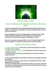 l etude de la biographie du prophete