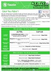 programmes vac toussaint 2013 club ados